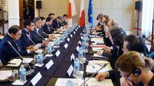 フランス北西部ブレストで開かれた日仏外務・防衛閣僚協議=11日(共同)