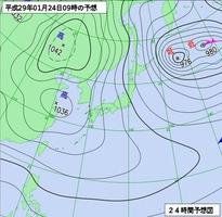 24日午前9時の予想天気図(気象庁)