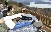 五湖望むテラス5個 嶺南観光の拠点に レインボーライン山頂公園一新