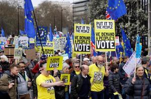 23日、ロンドンでプラカードなどを掲げて国民投票実施を求めるデモに参加する人々(AP=共同)