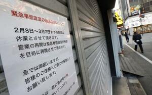 緊急事態宣言の延長を受け、休業を続ける飲食店の張り紙=2月8日、東京都新宿区