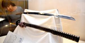 結城秀康が越知山に奉納した刀=28日、福井市立郷土歴史博物館