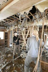 「大型サイド」豪雨浸水住宅 カビ防止、1カ月は乾燥を