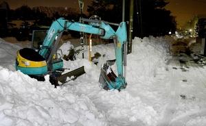 除雪作業中に死亡した男性オペレーターが乗っていた重機=10日、福井市