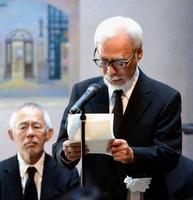 高畑勲さんの「お別れの会」で、あいさつする宮崎駿監督=15日、東京都三鷹市の三鷹の森ジブリ美術館