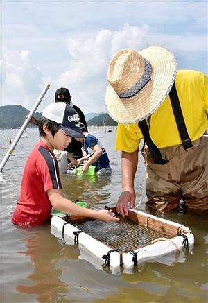 農業遺産の湖で伝統のシジミすくい