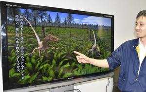 福井県勝山市での恐竜化石発掘の歩みをまとめた映像資料=28日、福井県立恐竜博物館