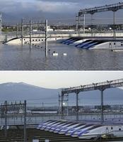 今年3月に撮影されたJR東日本の長野新幹線車両センターに整然と並ぶ北陸新幹線の車両(下、同社提供)。台風19号による大雨の影響で浸水被害を受けた(上)=10月13日、長野県長野市赤沼