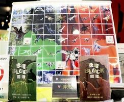特製の背景パネルに飾られた恐竜ブロック=福井市の福井市観光物産館「福福館」