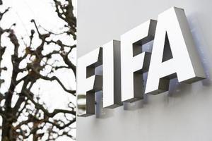 スイス・チューリヒにあるFIFA本部のロゴ(AP=共同)