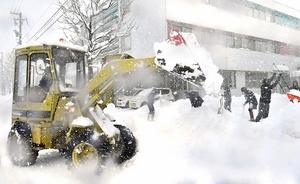 除雪作業に精を出す市民ら=13日午前、福井市