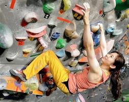 スポーツクライミングの東京五輪での実施が決まり、「登りがいがある大きな壁ができた」と練習に汗を流す廣重幸紀選手=4日、福井市の県立クライミングセンター