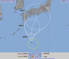 9月21日正午現在の台風経路図(気象庁ホームページ)