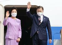 韓国の文大統領、米国へ出発