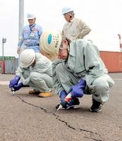 ヒアリの定着防止に向け、コンテナ置き場の舗装の亀裂に充填剤を入れて補修する作業員=28日、敦賀港鞠山南地区国際物流ターミナル