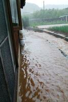 大雨の影響で住宅脇の水路からあふれ出た濁水=20日午前8時ごろ、長崎県佐世保市の宇久島(住民提供)