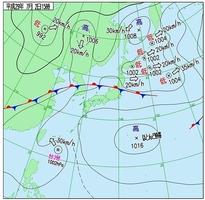 7月2日午後3時の天気図(気象庁)