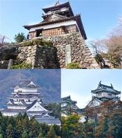 福井県内にある3つの天守。上は坂井市の丸岡城、右下は大野市の越前大野城、左下は勝山市の勝山城博物館、