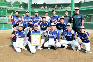 ソフトボール成年男子で3位入賞した福井県チーム=3日、愛媛県八幡浜市の王子の森スタジム