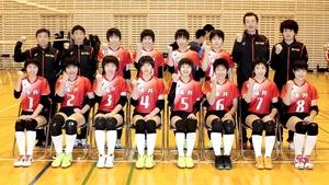 JOC中学バレーの女子福井選抜=9日、福井市至民中体育館
