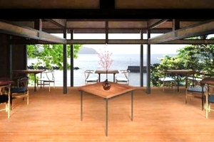 漁家レストランの内観イメージ図。ガラス張りで海が一望できる