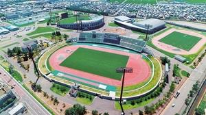 桐生選手が日本人初の9秒台の記録を出した福井県営陸上競技場=福井市加茂河原町上空から日本空撮・小型無人機ドローンで撮影