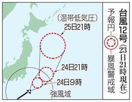 台風12号の予想進路(23日21時現在)