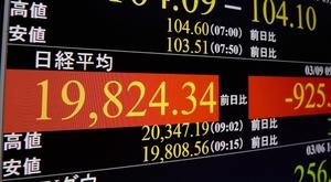 一時2万円を割り込んだ日経平均株価を表示するモニター=3月9日午前、東京・東新橋