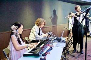 日本ツアーで演奏を披露する林小百合さん(左)=22日、福井市自然史博物館分館「セーレンプラネット」