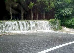 大雨の影響で山から大量の水が流れ出た、長崎県五島市岐宿町川原の道路=20日午前(住民提供)