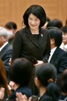 結核予防全国大会の会場に到着された秋篠宮妃紀子さま=13日午後、広島市