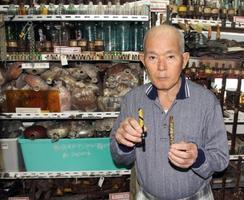 沖縄本島の壕で見つけた万年筆2本を手にする国吉勇さん=4月19日、那覇市