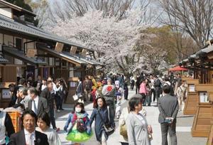 名古屋城の正門近くにオープンした「金シャチ横丁」の「義直ゾーン」=29日午前、名古屋市