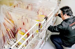 有効期間ごとに保管されている赤血球製剤。若者の献血離れは深刻で、40代以上が輸血の需要を支えている状況だ=福井市の県赤十字血液センター