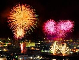 鮮やかに夜空を彩った2017年の福井フェニックス花火=2017年8月4日、福井県の福井市自然史博物館屋上から(多重処理)