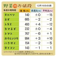 野菜のお値段 12月16日の週