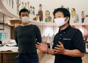 広島市での試写会後、取材に応じる調律師の矢川光則さん(右)と五藤利弘監督=6月