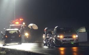 自転車がはねられた現場=1月18日午後9時ごろ、福井県福井市杉谷町