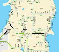 2019年6月18日夜に発生した地震の影響で山形道や日本海東北道の一部が通行止めになっている(6月18日午後11時10分現在、日本道路交通情報センターHPより)