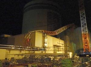 関西電力高浜原発2号機原子炉補助建屋と燃料取扱建屋にもたれかかっている工事用大型クレーン=20日午後10時半ごろ、福井県高浜町(関西電力提供)