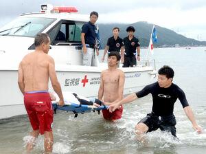 水難事故備え高浜で合同訓練