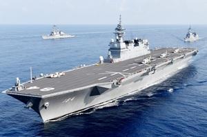 敦賀港に初寄港する護衛艦「かが」(海上自衛隊提供)