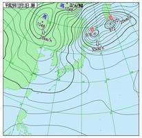実況天気図(13日午前3時)気象庁HPより