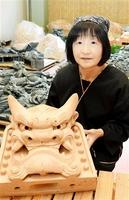 伝統的技能者の表彰を受ける北川富江さん。35年にわたり鬼瓦を作り続けてきた=福井県越前市池ノ上町の「北川鬼瓦」