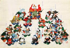 武田信玄を支えた武将を描いた「武田二十四将図」。左下に描かれた「真田兵部」が真田昌輝(長野市立博物館提供)