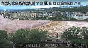 大雨で増水した筑後川のライブカメラ映像=7日午前8時53分、大分県日田市中ノ島町付近(国交省提供)