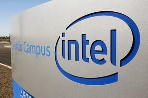 米半導体大手インテルのロゴ=2020年10月、アリゾナ州(ロイター=共同)