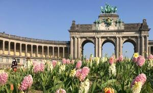 ベルギー・ブリュッセルの観光名所サンカントネール公園=3月27日(共同)
