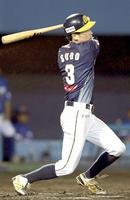福井-石川 7回福井2死一、二塁で、須藤が適時2塁打を放ち4-1とする=金沢市民野球場