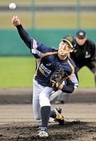 福井―滋賀 7回途中3失点の力投で2勝目を挙げた岩本輝=6月2日、福井フェニックススタジアム